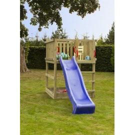 Plus Play legetårn trykimprægneret inkl. blå rutsjebane 185281-3