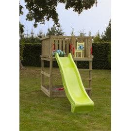 Plus Play legetårn trykimprægneret inkl. grøn rutsjebane 185281-2