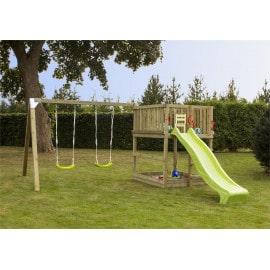 Plus Play legetårn trykimprægneret inkl. gyngestativ grøn rutsjebane og gyngesæder 185282-2