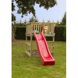 Plus Play legetårn trykimprægneret inkl. rød rutsjebane 185281-5